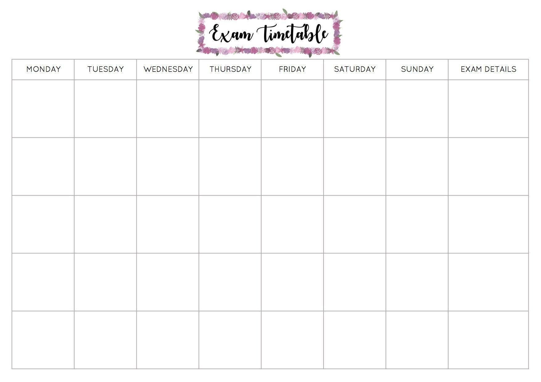 Free Exam Timetable Printable Study schedule template