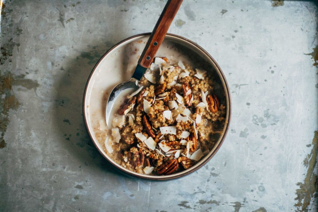 Breakfast Quinoa w/ Chai-Spiced Almond Milk + Cinnamon | Well and Full | #breakfast #recipe