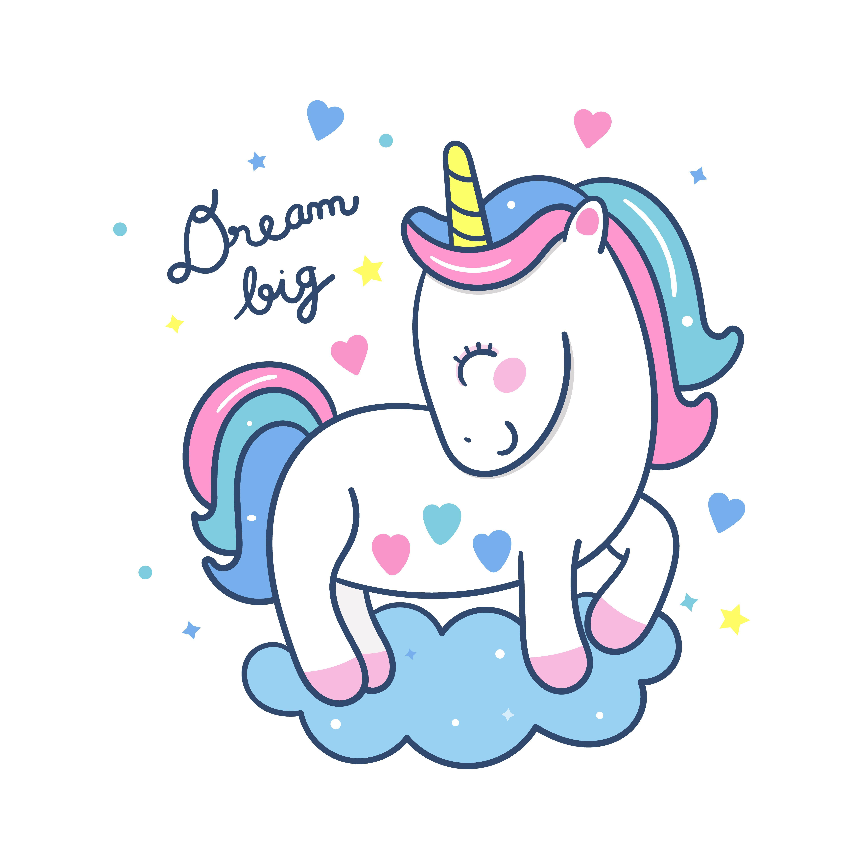Cute Unicorn Vector Stand On Cloud Pony Cartoon Pastel Color