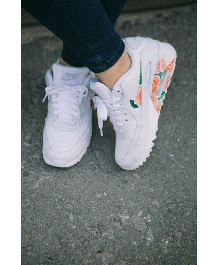 sports shoes 67b73 25140 Nike Air Max 90 Floral Blanche Vert Rose