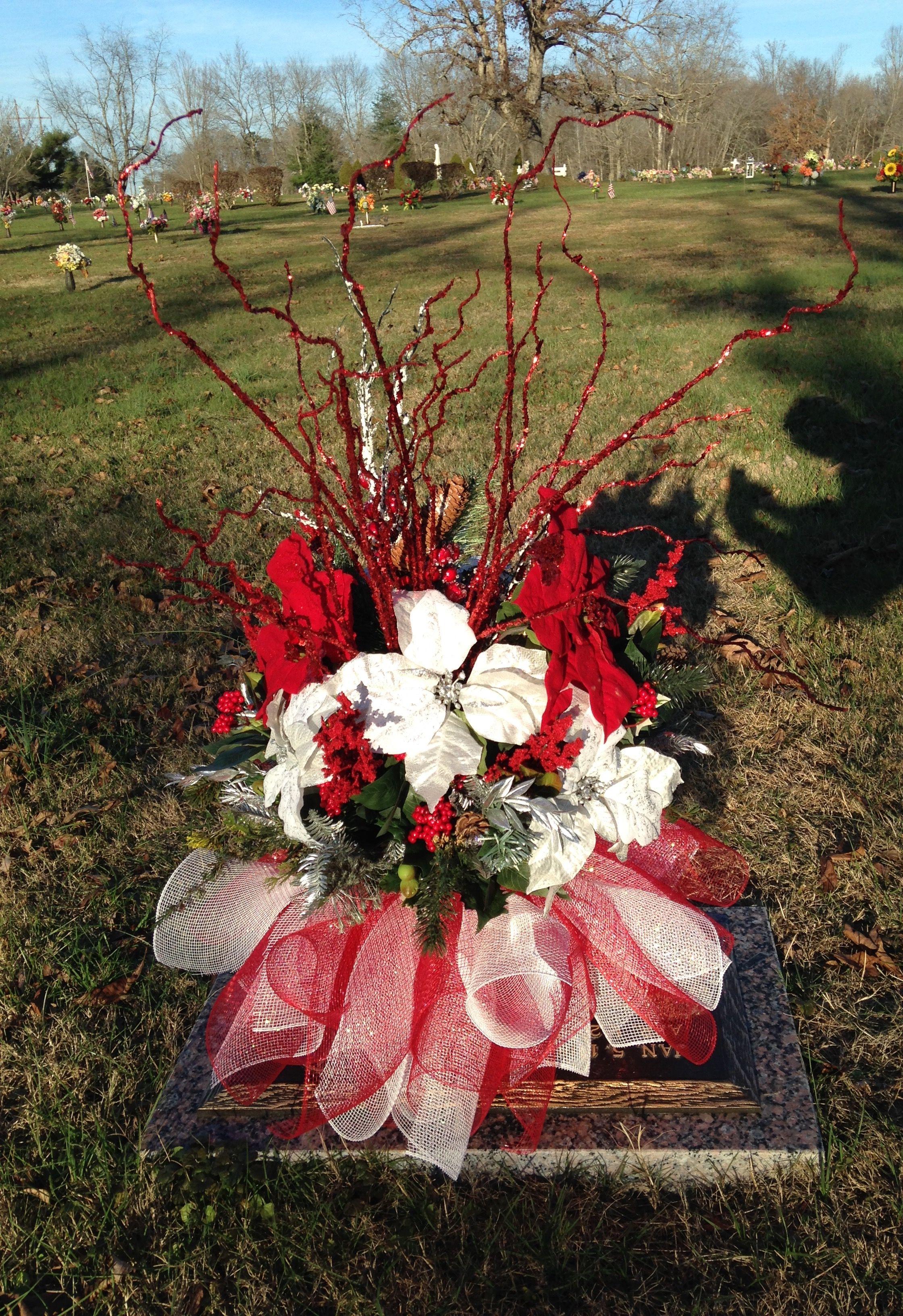 Candy cane flower arrangement for grave Grave flowers