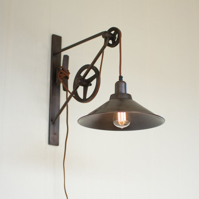 Double Pulley Farmhouse Swing Arm Sconce In 2020 Rustic Wall