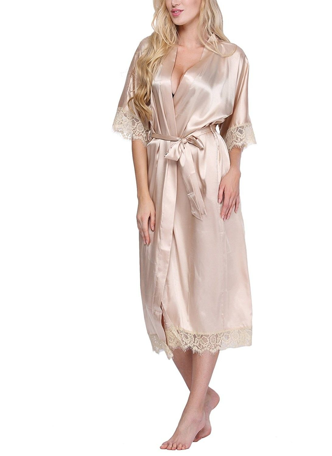 8465fdfcc5b8 Women s Solid-Colored Long Kimono Robe Loungewear With Lace Trim -  Champagne - CL12FYZQHYZ