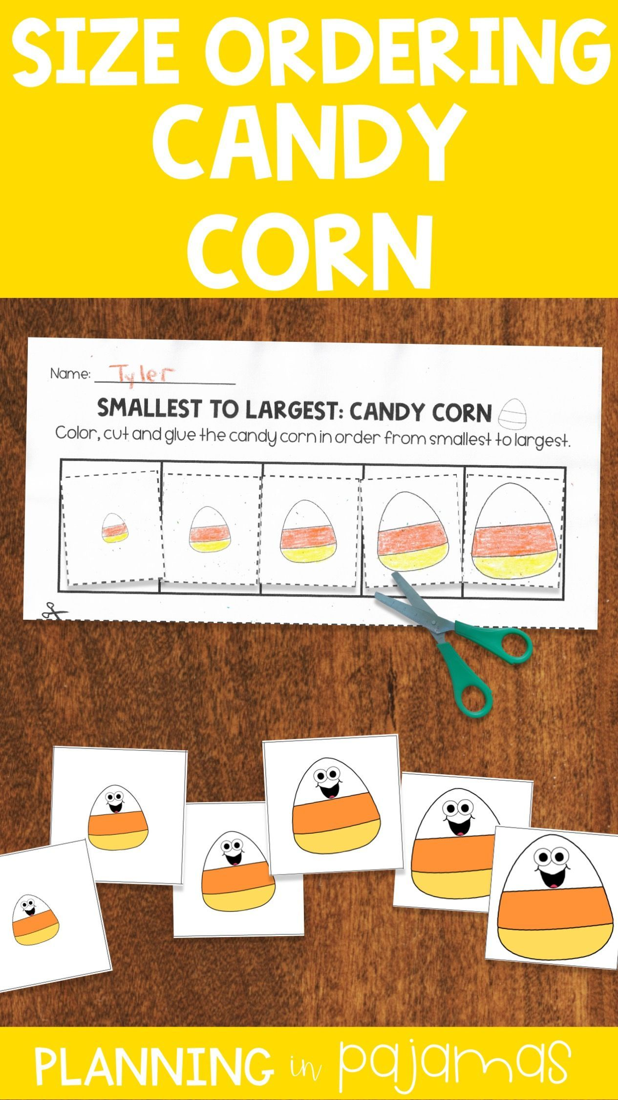 Candy Corn Size Ordering Cards And Worksheet To Add To A
