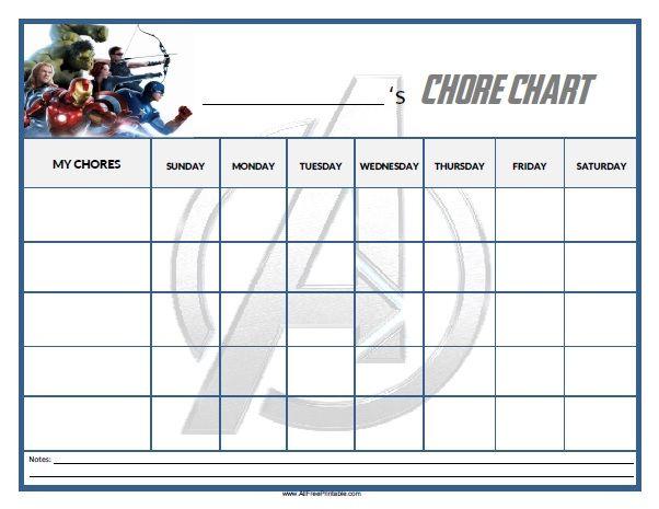 Free Printable Avengers Chore Chart  Home    Chart