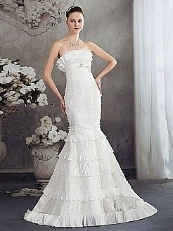 Strapless Lace and Taffeta Wedding Dress with Tiered Skirt - USD $245.99