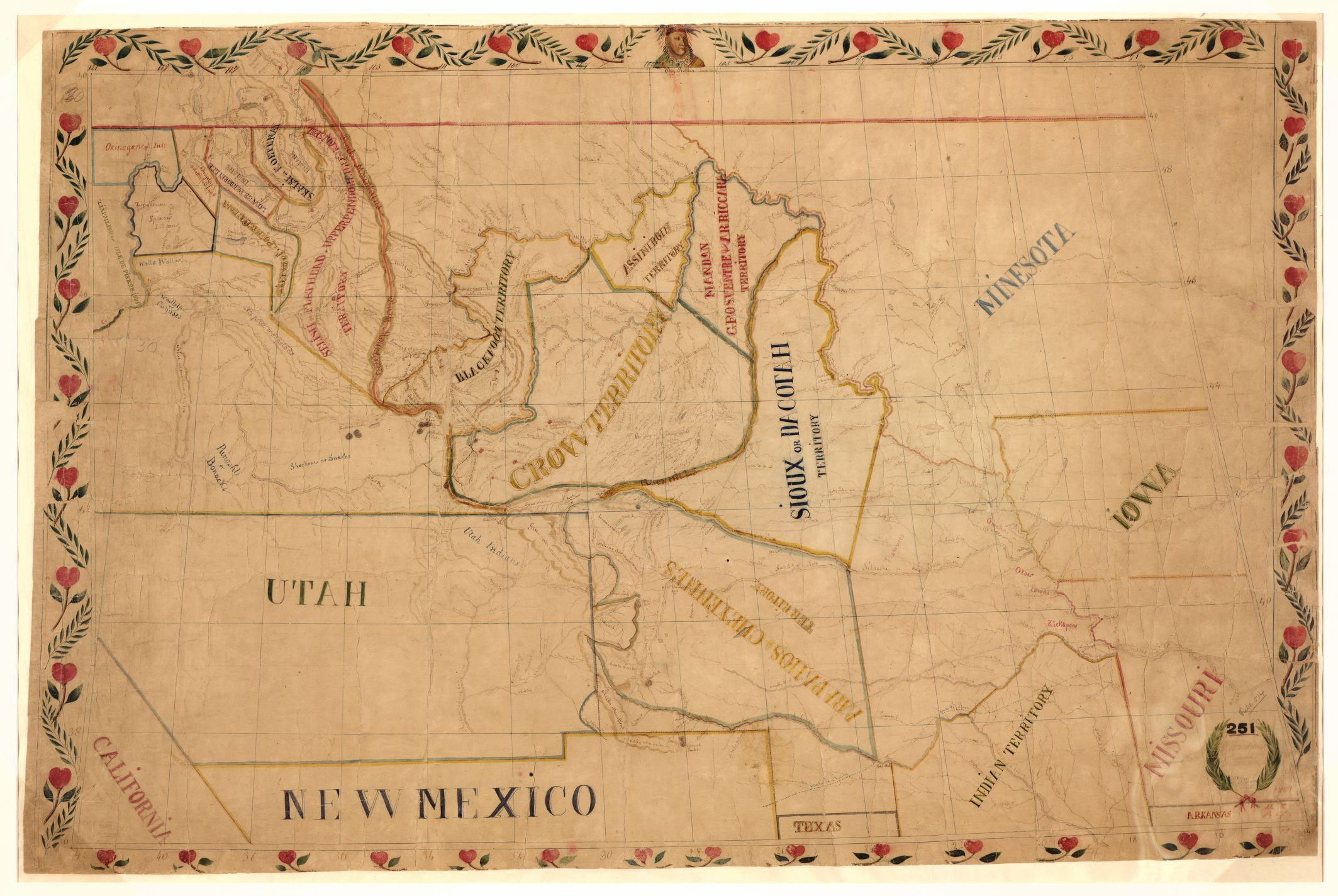 map drawn by father pierre jean de smet showing the de smet showing the territories claimed by the tribes of the upper great plains and rocky mountains on the occasion of the horse creek treaty