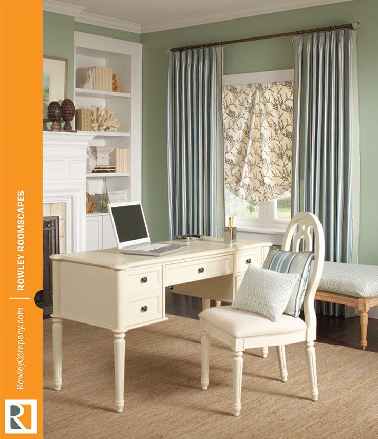 Custom Homeoffice Desk: This #windowtreatments Combo And Custom Bench Slipcover