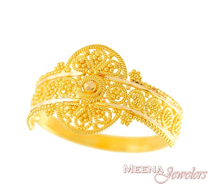 22kt Gold Indian Ring Rilg2936 22kt Gold Ring Indian Ring With Beautiful Filigree Design And Lazer Gold Ring Indian Ladies Gold Rings Gold Ring Designs
