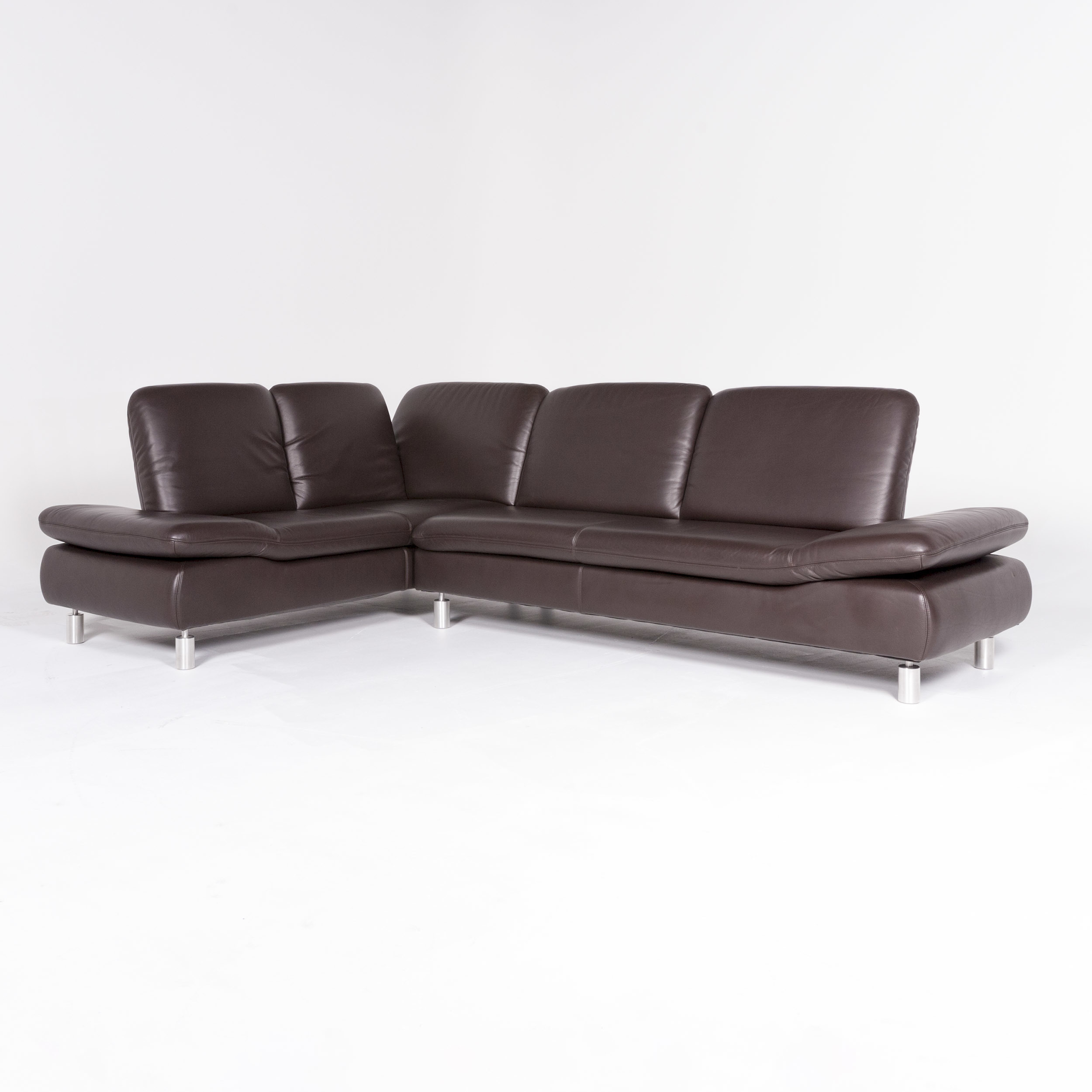 - Koinor Rivoli Designer Leather Corner Sofa Brown Genuine Leather