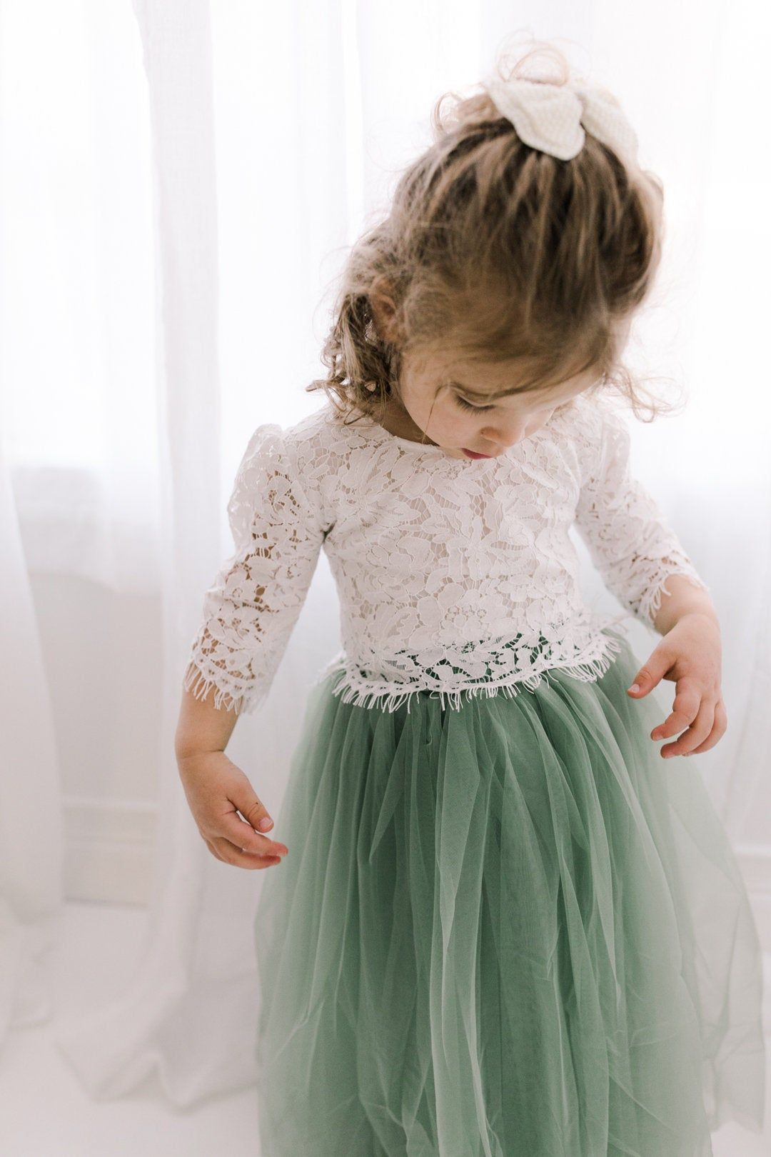 Sage Green Tulle Two Piece Tutu Skirt, White Lace Flower Girl Dress, Boho Beach Moss Wedding