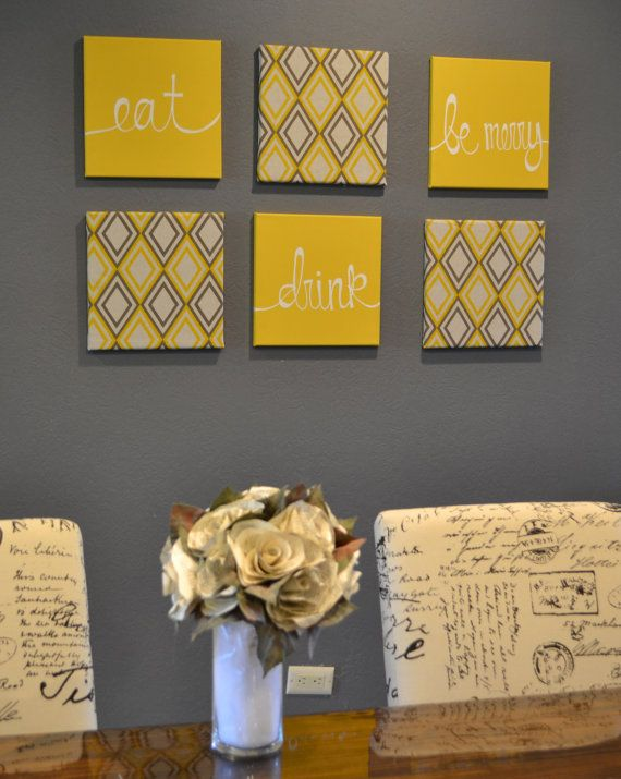 Eat Drink Be Merry Yellow And Gray Wall Art By GoldenPaisley