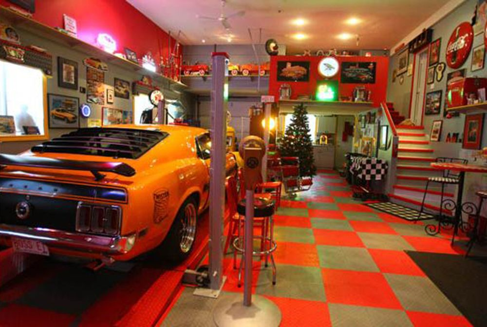 Man Cave complete with Mustang, gotta love it.   50 ...