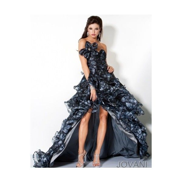 Jovani Black High Low Tiered Prom Dress 30123 ❤ liked on Polyvore ...