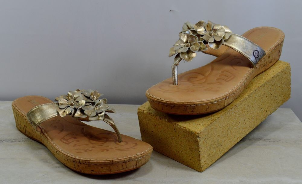 826cbbd0109e Born Gold Leather Floral Cork Wedge Sandals Women s Size 9 M  Brn   PlatformsWedges  Casual