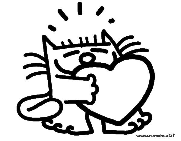 Dibujo de El gato y el corazón para colorear | Dibujos de Animales ...