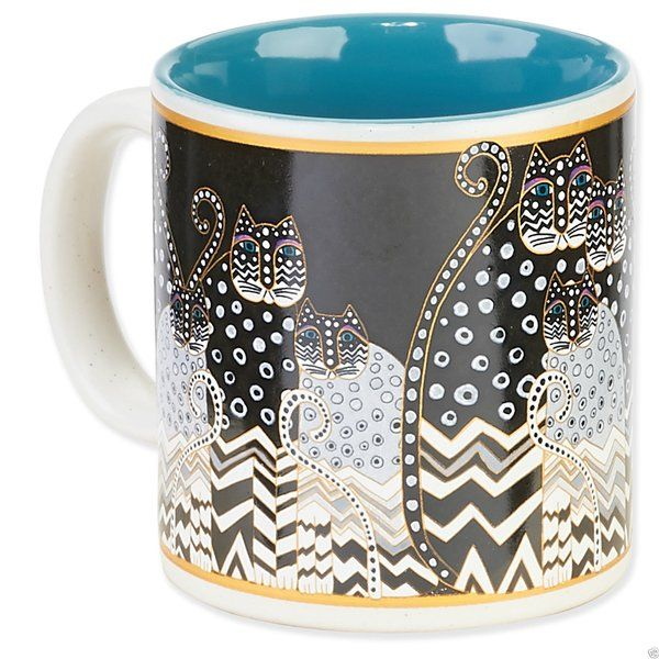 "Laurel Burch ""Polka Dot Gatos"" 14 oz Cermaic Mug Brand New"