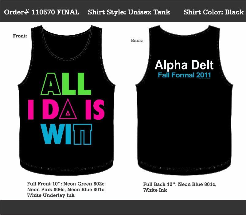 Neoncolored Alpha Delta Formal tank! Just need to change