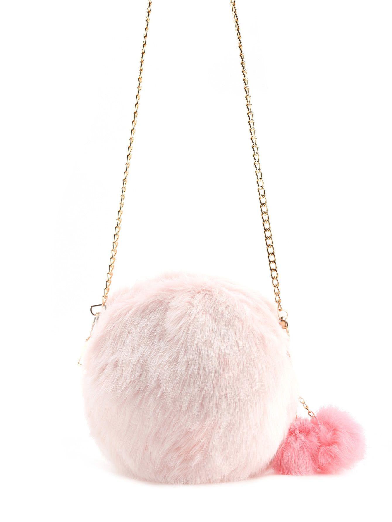 d26ed37163c4 Faux Fur Overlay Crossbody Bag With Pom PomFor Women-romwe