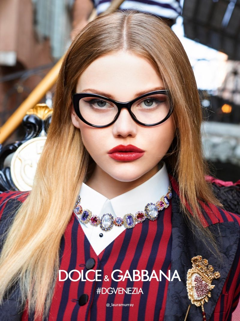 1075bc28e8 Laura Murray appears in Dolce   Gabbana s spring-summer 2018 eyewear  campaign
