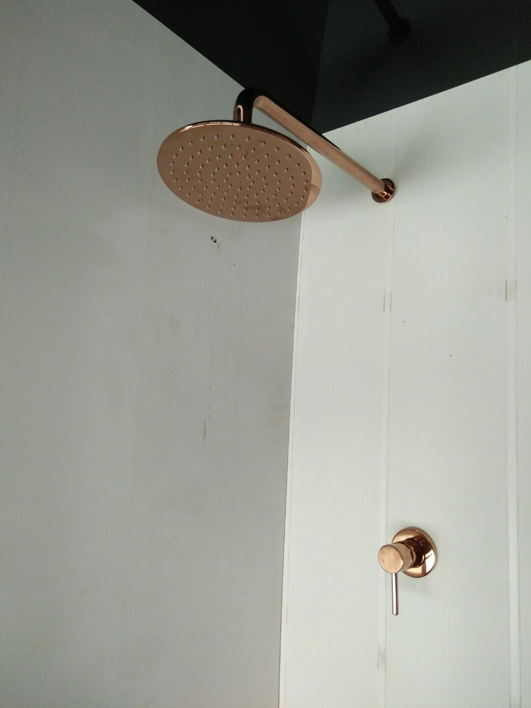 details about rose gold copper gold shower head set 200 mm round wall ceiling arm u0026 wall mixer