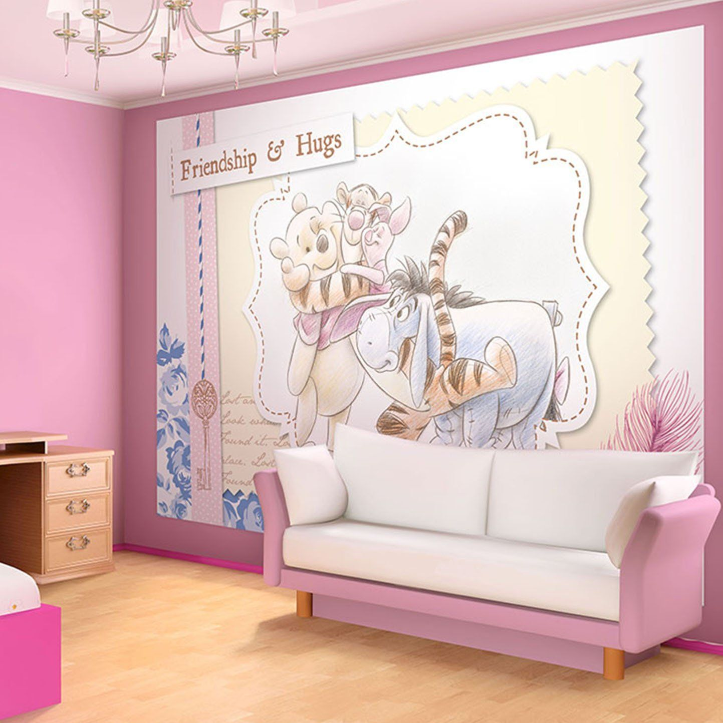vlies fototapeten fototapete wandbild tapeten disney winnie pooh kinderzimmer winnie pooh. Black Bedroom Furniture Sets. Home Design Ideas
