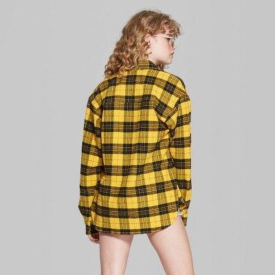 2546b666 Women's Plaid Long Sleeve Flannel Button-Down Shirt - Wild Fable Yellow Xxl