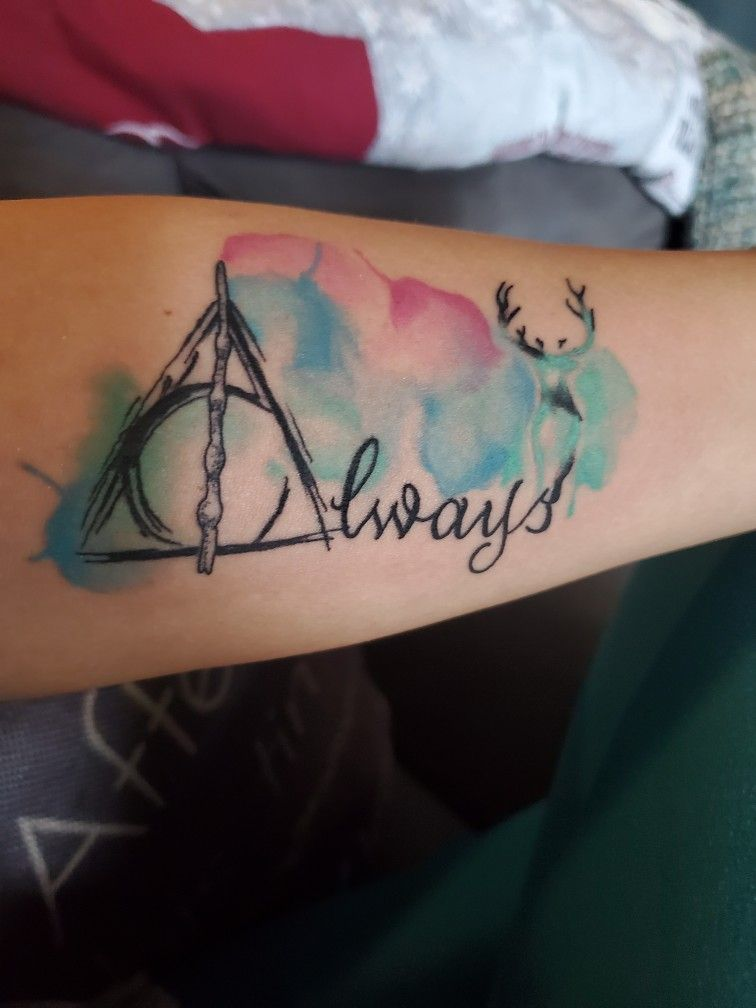 Water Color Deathly Hallows Always And Patronus Tattoo Always Harry Potter Tattoo Patronus Tattoo Always Tattoo