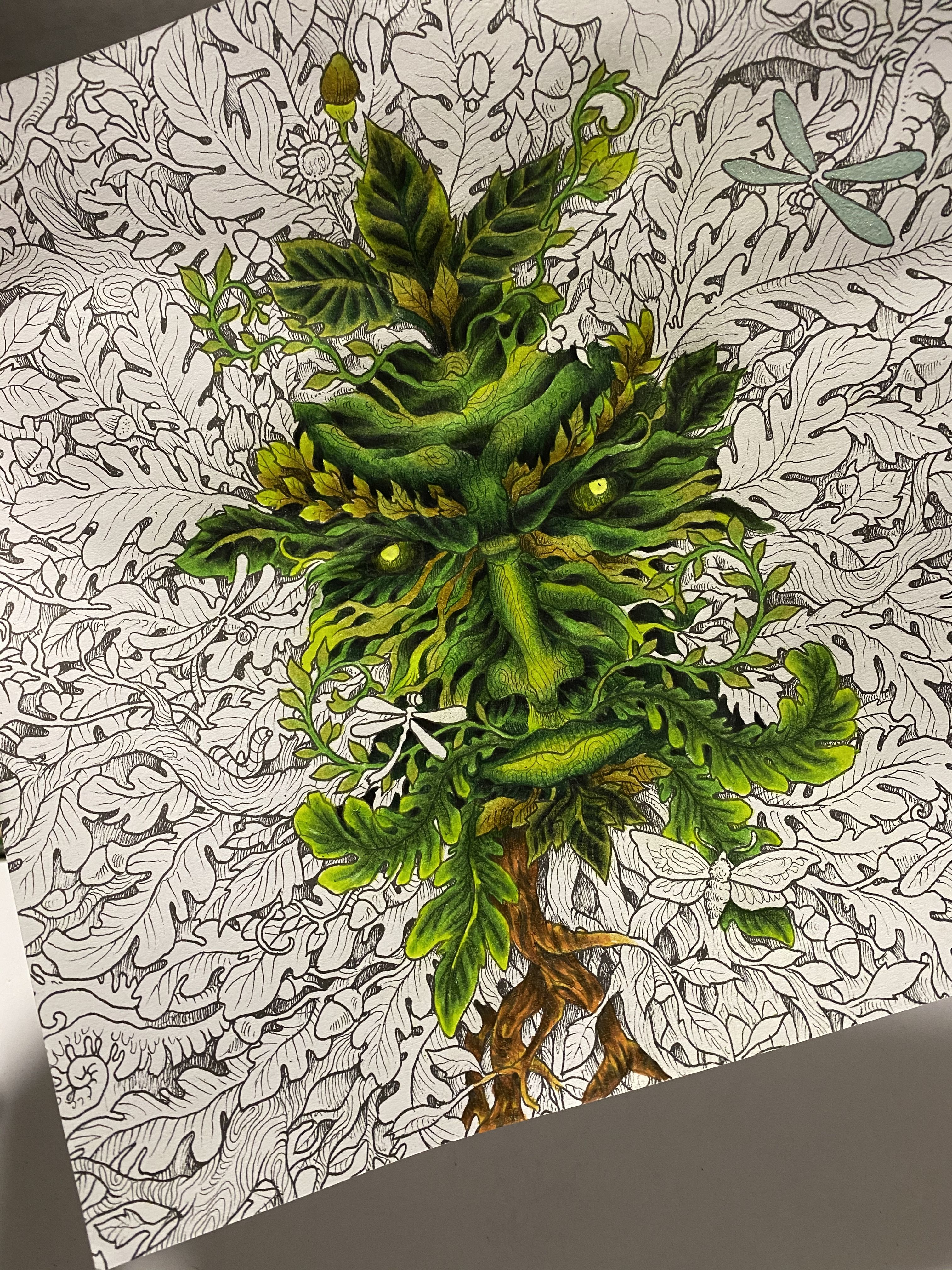 The Green Man In 2020 Coloring Book Art Animorphia Coloring Book Colorful Drawings