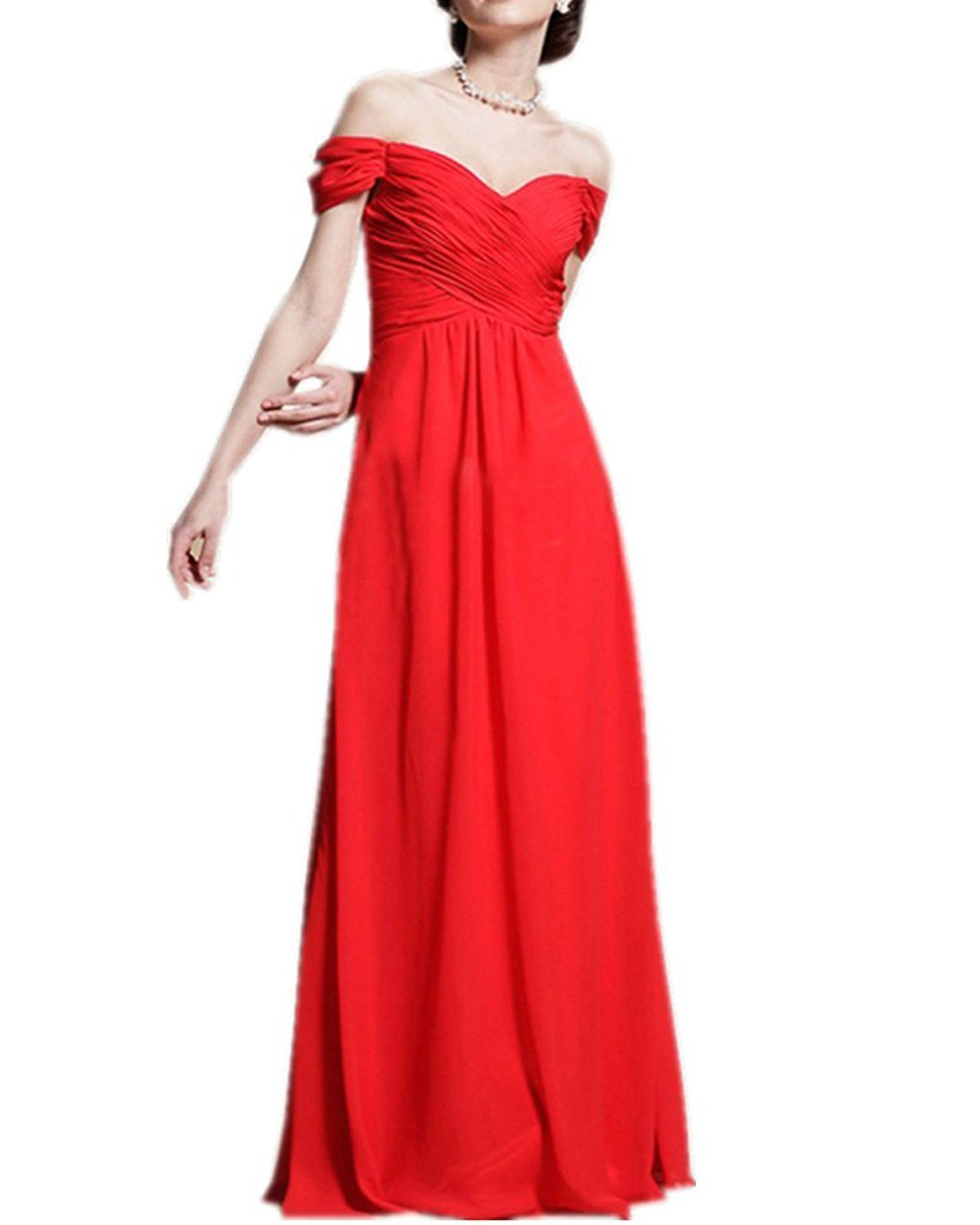 Olivia's Off the Shoulder Short Sleeves Red Bridesmaid Dresses Long >>> See this great image  : Bridesmaid Dresses