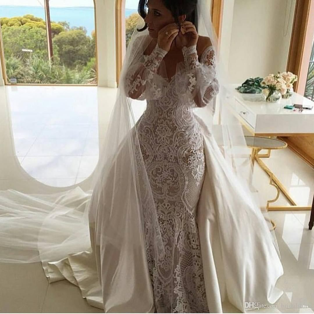 Vintage Off The Shoulder Mermaid Wedding Dress With Detachable Train Long Sleeves Lace Bohemian Wedding Dresses Country Turkey Bridal Gowns From Bridalstore 1 Bohemian Wedding Dress Lace Wedding Dresses Lace Long [ 1080 x 1080 Pixel ]