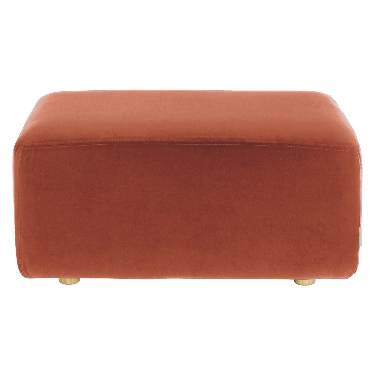 Habitat louis orange velvet fabric footstool with images