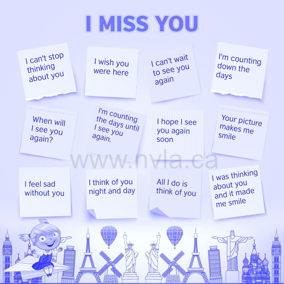 Different ways to say, I miss you. English as a second