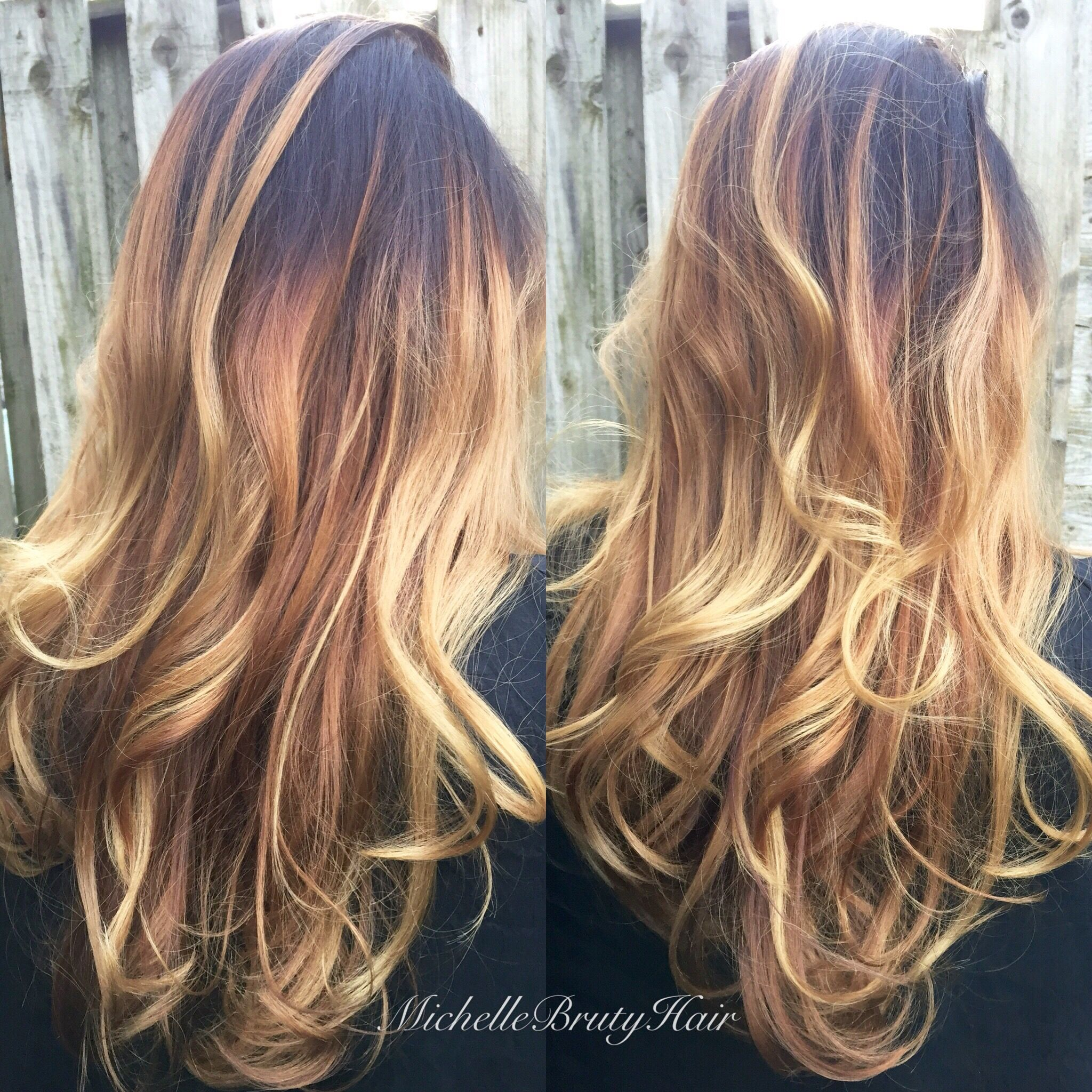 Golden Honey Blonde Balayage With A Brunette Shadow Root Blonde