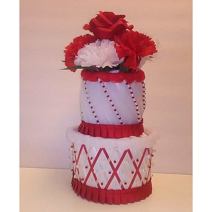 Red and White Themed Baby Girl Shower 2 Tier Mini Diaper Cake Table Centerpiece Listing in the Baby Showers,Maternity/Pregnancy,Baby Stuff Category on eBid United States