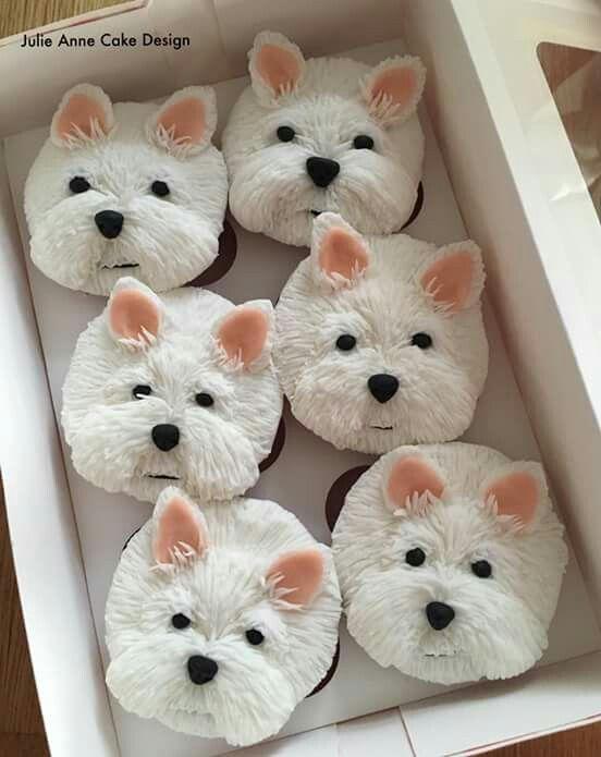 Westie cupcakes | Recetas de Comida para Perros | Pinterest