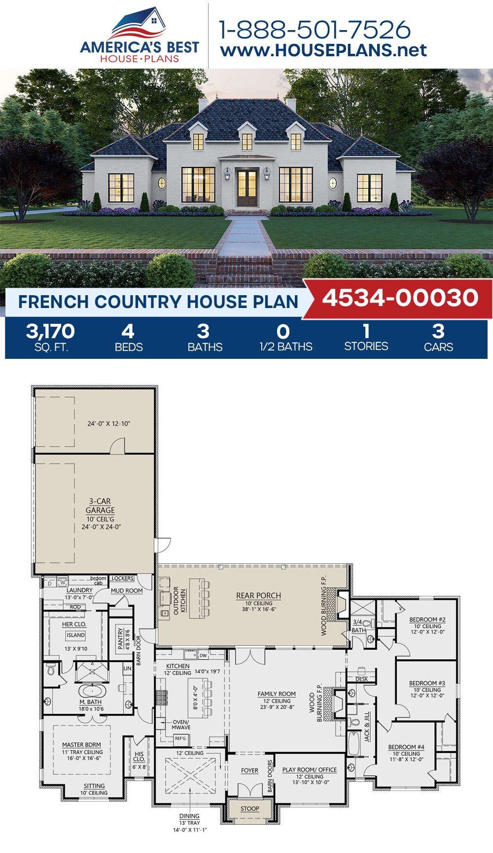 House Plan 4534 00030 French Country Plan 3 170 Square Feet 4 Bedrooms 3 Bathrooms Affordable House Plans French Country House Plans Ranch House Plans