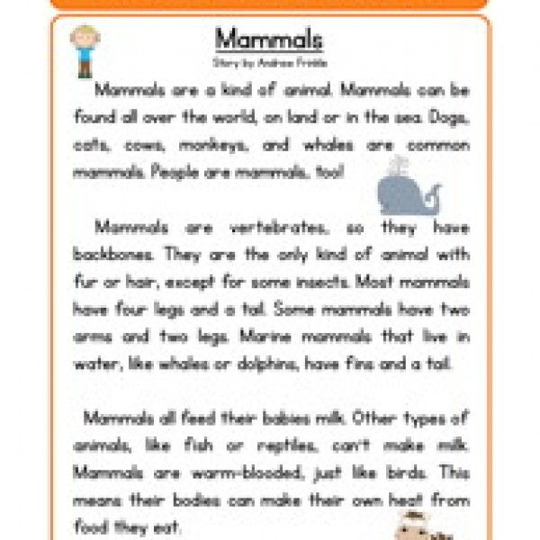 Mammals Life Science Reading Comprehension Worksheet | Reading ...