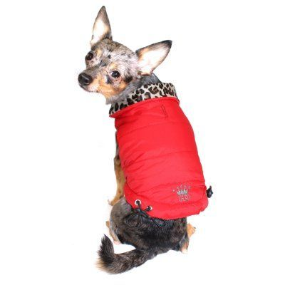 9249ee8d0c30d75d6dfdd0bf5126ef1e hip doggie reversible puffer vest red leopard hd 5rpv xs products