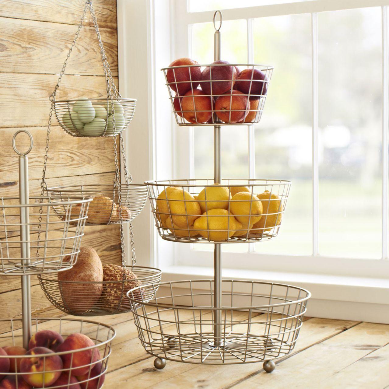 Sur La Table 3 Tier Hanging Basket, Brushed Aluminum At Sur La Table