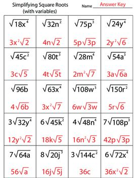 Simplifying Square Roots With Variables Worksheet | Math Worksheets ...