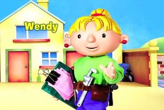 Wendy From Bob The Builder Cartoon Blue Jeans Bright Green Shirt Tool Belt Clipboard With Pink Papers Cos Bob The Builder Cartoon Holiday Fun 90s Cartoons