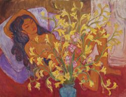 fleurdulys: Jettli with a Vase of Orchids - Theo Meier