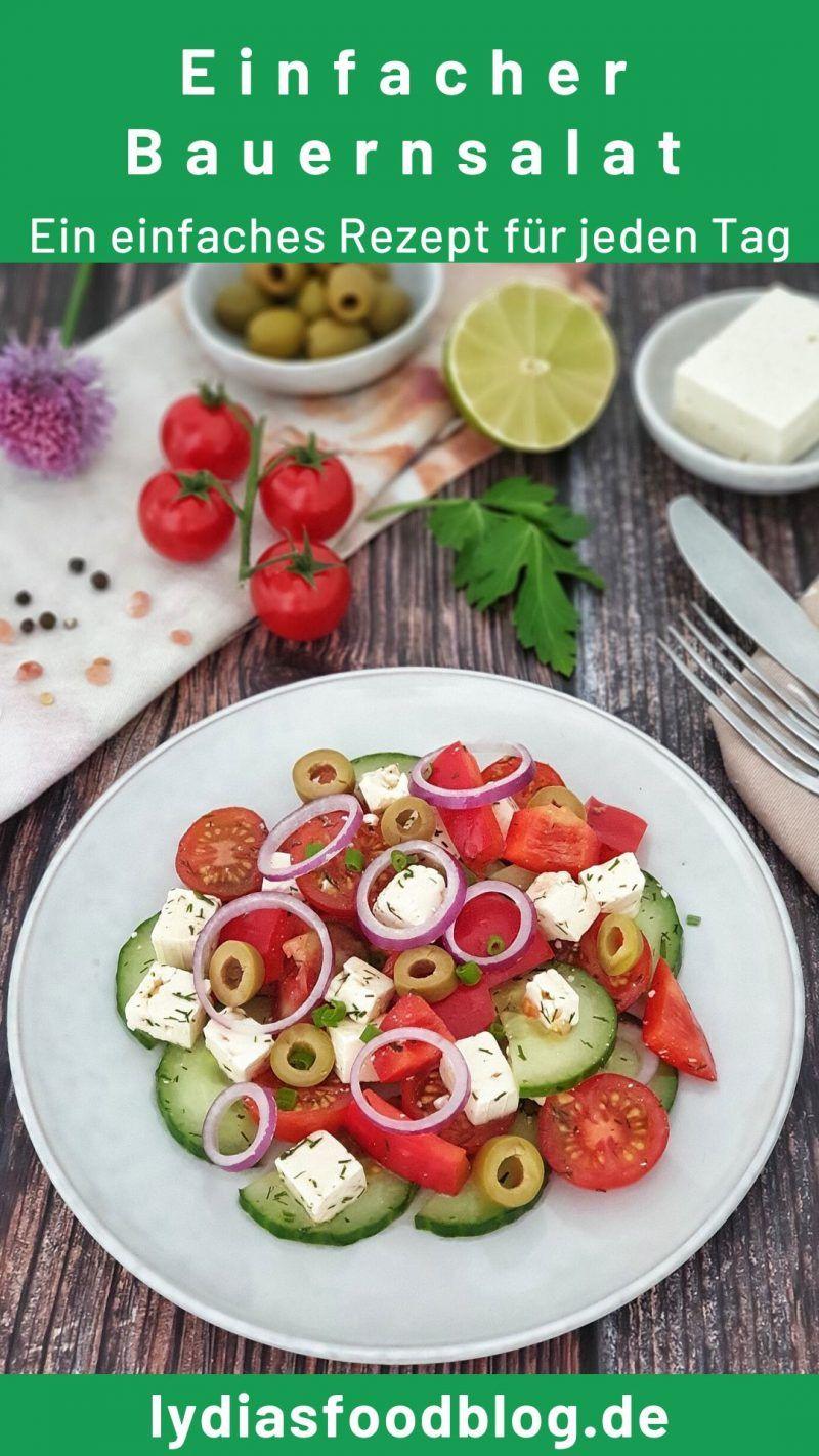 Ein griechischer Bauernsalat ist schnell und einfach selbstgemacht. Du brauchst nur eine Handvoll Zutaten und gerade einmal 15 Minuten Zeit. Dieses Salat Rezept ist gut für jede Party, Buffet oder fürs Grillen im Sommer. Auch als Vorspeise in deinem persönlichen Menü für Gäste ist der Salat bestens geeignet. #salat #grillen #bauernsalat #lydiasfoodblog #einfach #schnell #kochen #abnehmen #gesund #rezepte
