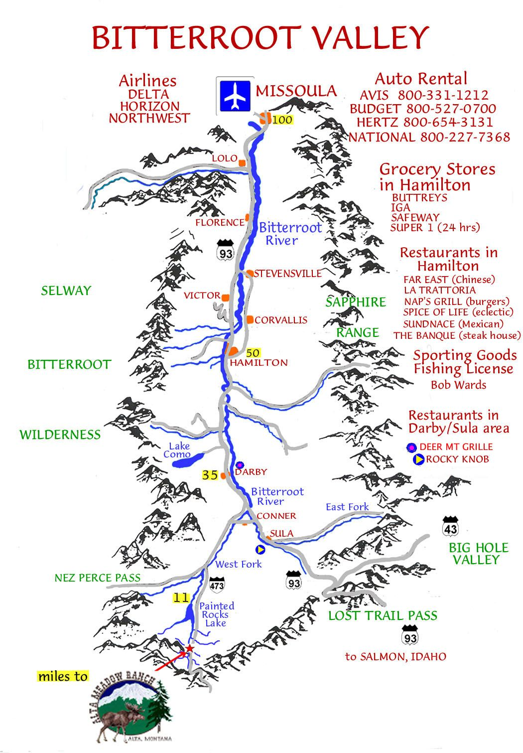 The bitterroot valley (Map) | Bitterroot valley | Stevensville ...