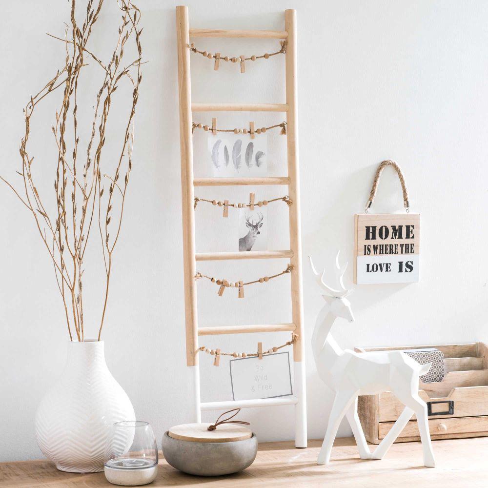 p le m le photo chelle en bois 26 x 90 cm graphic maisons du monde maison echelle bois. Black Bedroom Furniture Sets. Home Design Ideas