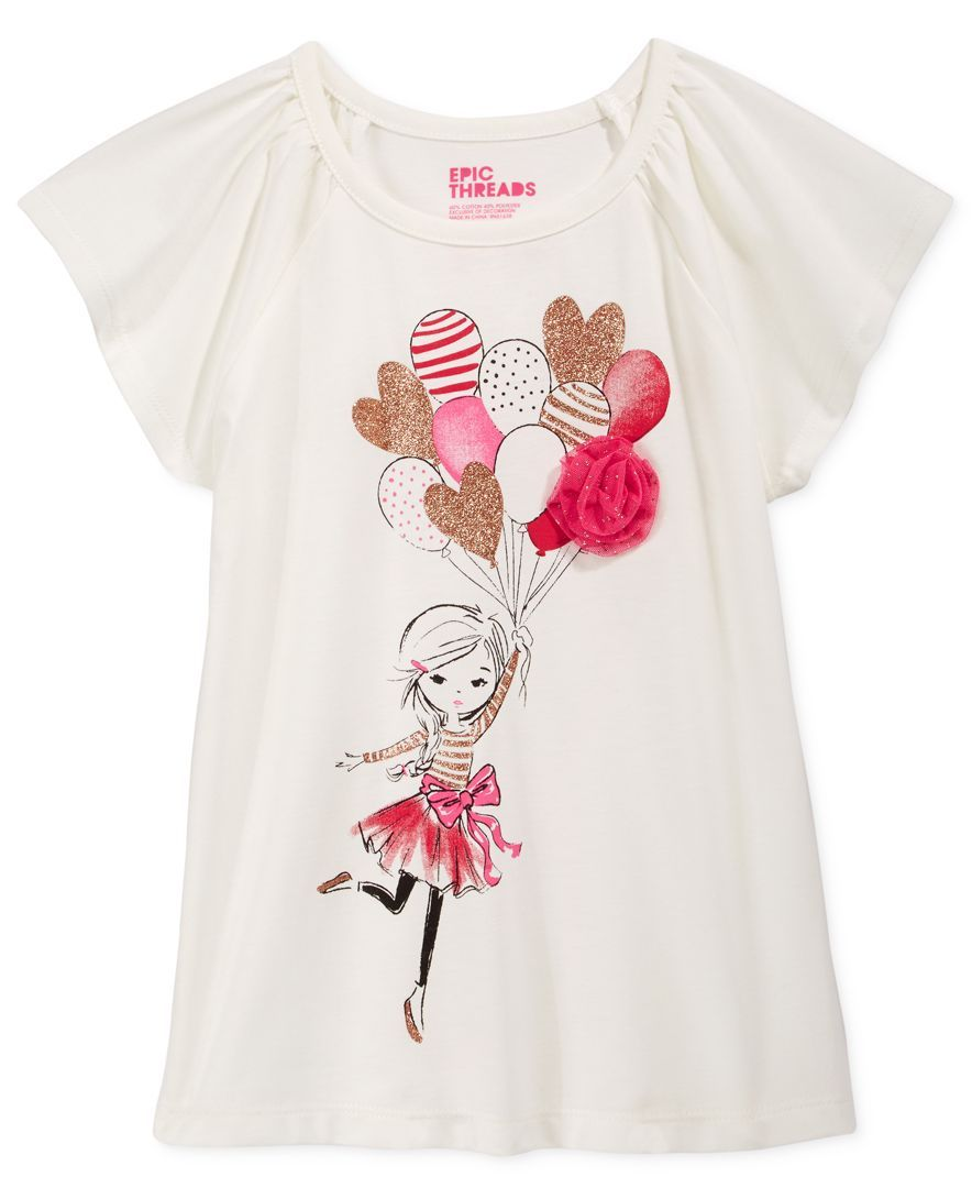 1bf13c9de76cf Epic Threads Little Girls' Mix and Match Balloon Embellished Graphic-Print  T-Shirt, Only at Macy's