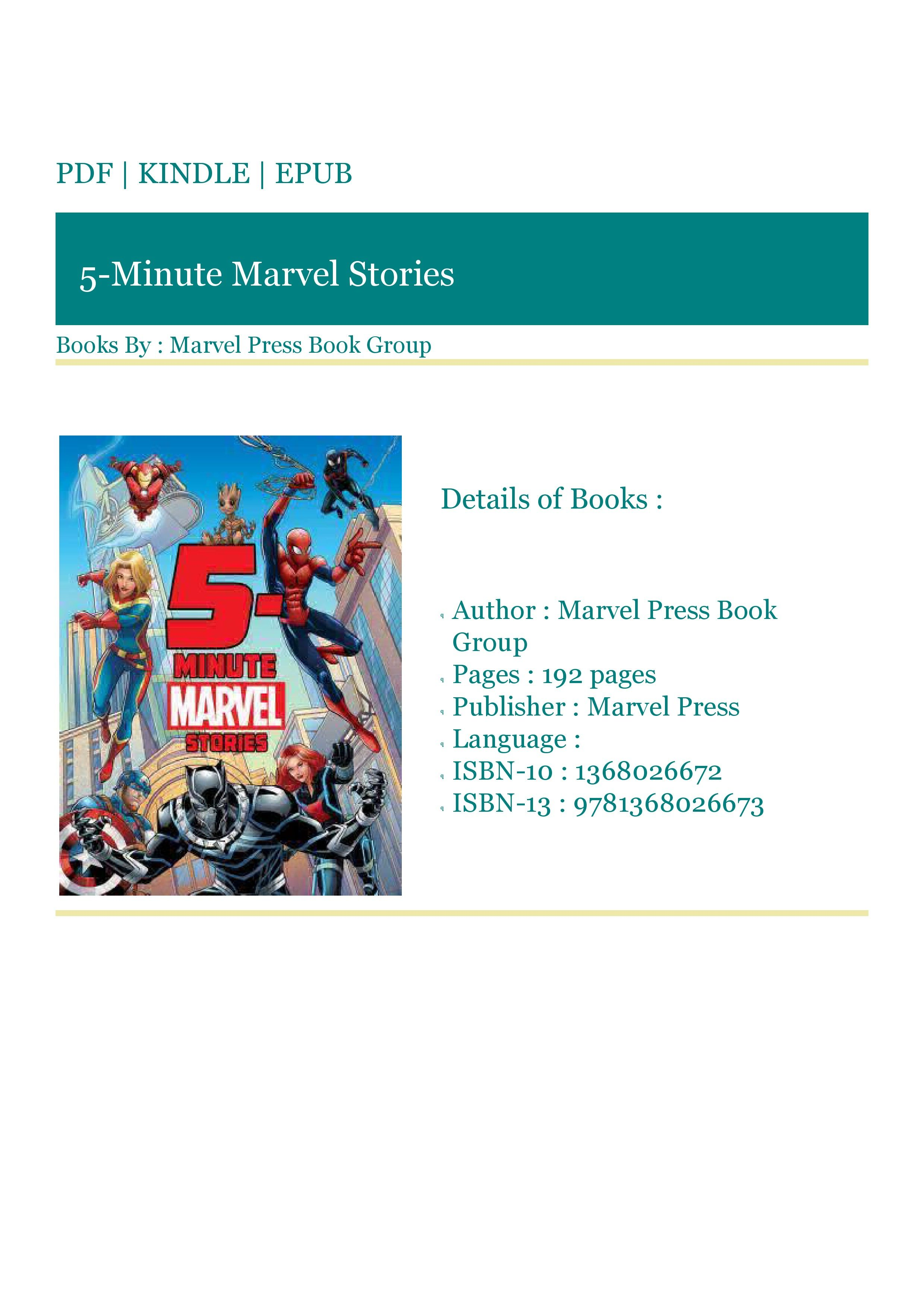 ***READ (PDF) 5Minute Marvel Stories in 2020 Marvel