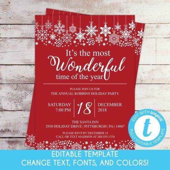 printable Templett editable editable invitation holiday G169C Before we do template Christmas Winter Rehearsal Dinner snowflakes