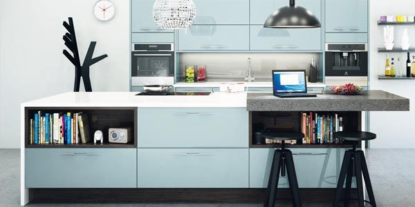 Kitchen With Pale Blue High Gloss Finish